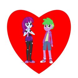 Size: 800x800 | Tagged: safe, mystery mint, spike, equestria girls, equestria girls-ified, female, heart, human spike, looking at you, male, mysteryspike, shipping, shipping heart, straight