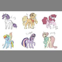 Size: 938x939 | Tagged: safe, artist:last-star-oc, applejack, fluttershy, pinkie pie, rainbow dash, rarity, twilight sparkle, earth pony, pegasus, pony, unicorn, leak, spoiler:g5, applejack (g5), clothes, colored wings, earth pony twilight, female, fluttershy (g5), folded wings, g5, glasses, mane six, mane six (g5), mare, multicolored wings, pegasus pinkie pie, pinkie pie (g5), race swap, rainbow dash (g5), rainbow wings, rarity (g5), redesign, scarf, simple background, spread wings, twilight sparkle (g5), unicorn fluttershy, white background, wings