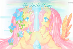 Size: 798x540 | Tagged: artist needed, source needed, safe, fluttershy, pegasus, pony, unicorn, leak, spoiler:g5, duality, eye contact, female, flower, flower in hair, fluttershy (g5), g4, g4 to g5, g5, generational ponidox, looking at each other, mare, self ponidox, smiling, spread wings, unicorn fluttershy, wings