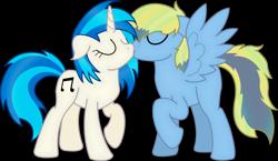 Size: 3220x1862 | Tagged: safe, artist:soulakai41, dj pon-3, vinyl scratch, oc, pegasus, pony, canon x oc, female, kissing, male, stallion, straight