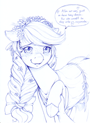 Size: 1239x1688 | Tagged: safe, artist:longinius, applejack, earth pony, human, pony, alternate hairstyle, blushing, braid, clothes, cute, dialogue, dress, ear blush, female, floppy ears, flower, flower in hair, freckles, hoof hold, implied human on pony action, implied interspecies, jackabetes, looking at you, mare, monochrome, offscreen character, offscreen human, pov, ribbon, speech bubble, talking to viewer, traditional art