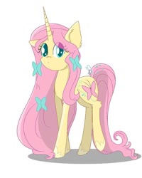 Size: 723x903 | Tagged: safe, artist:crazy spring surprise, fluttershy, pony, unicorn, leak, spoiler:g5, female, fluttershy (g5), g5, hooves, looking at you, mare, redesign, simple background, solo, unicorn fluttershy, white background