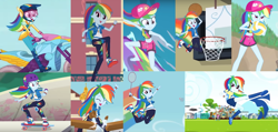 Size: 1807x859 | Tagged: safe, rainbow dash, blue crushed, do it for the ponygram!, eqg summertime shorts, equestria girls, equestria girls series, forgotten friendship, friendship games, sic skateboard, steps of pep, stressed in show, stressed in show: rainbow dash, spoiler:eqg series (season 2), badminton, basketball, belly button, choose your own ending (season 1), clothes, collage, converse, football, karate, motorcycle, running, shoes, skateboard, sports, surfing, volleyball