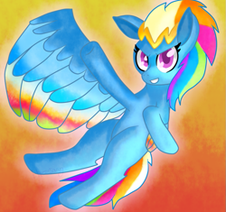 Size: 781x734 | Tagged: safe, artist:hazesong, rainbow dash, pegasus, pony, leak, spoiler:g5, colored wings, female, g5, mare, multicolored wings, rainbow dash (g5), rainbow wings, redesign, simple background, solo, wings