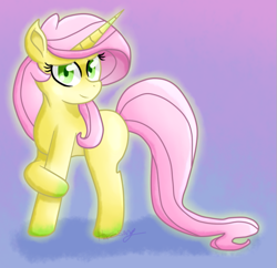 Size: 645x625 | Tagged: safe, artist:hazesong, fluttershy, pony, unicorn, leak, spoiler:g5, female, fluttershy (g5), g5, mare, redesign, simple background, solo, unicorn fluttershy