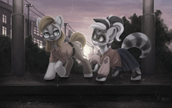 Size: 3438x2160 | Tagged: safe, alternate version, artist:amishy, oc, oc:bandy cyoot, oc:jerry alton, earth pony, hybrid, pony, raccoon, raccoon pony, admiration, admiring, asphalt, belt, big ears, black stripe, blue, building, bush, canine tooth, canines, chimney, clothes, date, date sunset, drumline, dual colored mane, ears, ears up, electric pole, eye, eyebrows, eyelashes, eyes, facial hair, female, glasses, goatee, grass, green eyes, grey coat, hair, happy, hedge, hooves, jacket, lamppost, letterman jacket, light, lighting, lines, long hair male, loose hair, love, male, mare, mask, multicolored hair, muzzle, nose, nostrils, open smile, orange, pants, patch, plaid shirt, pocket, purple sky, rain, raised eyebrows, reflection, retro, saddle oxfords, shading, shine, shipping, shirt, shoelace, shoes, short tail, sidewalk, skirt, smiling, snout, soft, stallion, stars, steeple, striped tail, stripes, sun, sunset, tan, telephone pole, together, treble clef, water, white pony, white stripes, windows, yellow, yellow eyes, yellow shirt, zipper