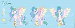 Size: 4015x1494 | Tagged: safe, artist:xxsnow-flakexx, princess celestia, alicorn, pony, leak, spoiler:g5, accessories, crown, g5, hooves, jewelry, princess celestia (g5), redesign, regalia, spread wings, wings