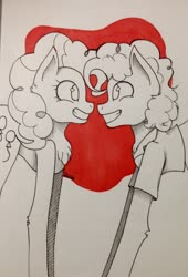 Size: 734x1080 | Tagged: safe, artist:anotherfandomtrash, cheese sandwich, pinkie pie, earth pony, pony, cheesepie, female, male, shipping, straight, traditional art