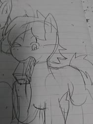 Size: 1080x1440 | Tagged: safe, artist:omegapony16, oc, oc only, earth pony, pony, eating, lineart, lined paper, mouth hold, one eye closed, raised hoof, traditional art, wink