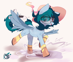 Size: 3210x2720 | Tagged: safe, artist:nevobaster, oc, oc only, oc:delta vee, pegasus, pony, boots, cute, female, glasses, gumboots, happy, hat, mare, ocbetes, open mouth, playing, puddle, rocket, running, shoes, simple background, spread wings, toy, weapons-grade cute, white background, wings, younger