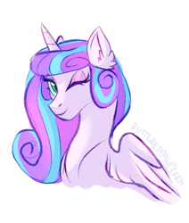 Size: 489x577 | Tagged: safe, artist:butteredpawpcorn, princess flurry heart, alicorn, pony, bust, female, mare, older, older flurry heart, one eye closed, simple background, solo, white background, wink