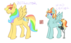 Size: 1135x691 | Tagged: safe, artist:butteredpawpcorn, oc, oc only, oc:petrichor, oc:wind chaser, pegasus, pony, amputee, brother and sister, congenital amputee, duo, female, male, mare, missing limb, offspring, parent:rainbow dash, parent:zephyr breeze, parents:zephdash, prosthetic leg, prosthetic limb, prosthetics, siblings, simple background, stallion, white background