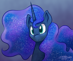 Size: 1200x1000 | Tagged: safe, artist:imaplatypus, princess luna, alicorn, pony, bust, cute, ethereal mane, female, galaxy mane, lunabetes, mare, portrait, solo
