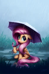 Size: 1000x1500 | Tagged: safe, alternate version, artist:lollipony, fluttershy, pegasus, pony, cute, female, floppy ears, mare, puddle, rain, shyabetes, sitting, solo, umbrella, water
