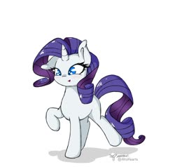 Size: 1302x1237 | Tagged: safe, artist:altohearts, rarity, pony, unicorn, colored pupils, cute, ear down, female, mare, missing cutie mark, open mouth, raribetes, simple background, solo, white background
