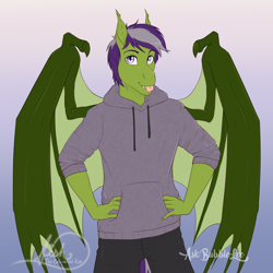 Size: 3300x3300 | Tagged: safe, artist:askbubblelee, oc, oc only, anthro, bat pony, anthro oc, bat pony oc, clothes, digital art, hoodie, smiling, solo, sweater, tongue out