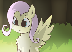 Size: 2500x1800 | Tagged: safe, artist:greevtale, fluttershy, pegasus, pony, chest fluff, cute, everfree forest, female, mare, shyabetes, sitting, solo