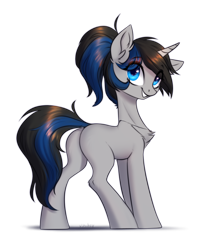Size: 1300x1630 | Tagged: safe, artist:vincher, oc, oc only, pony, unicorn, chest fluff, female, mare, smiling, solo