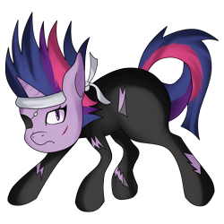 Size: 3600x3600 | Tagged: safe, artist:kenisu-of-dragons, twilight sparkle, pony, unicorn, it's about time, eyepatch, female, future twilight, headband, high res, mare, simple background, solo, transparent background, unicorn twilight