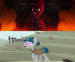 Size: 1920x1608 | Tagged: safe, edit, edited screencap, screencap, stygian, tempest shadow, my little pony: the movie, shadow play, female, heart eyes, male, open up your eyes, shadow, shipping, shipping domino, steam, straight, tempgian, wingding eyes