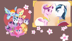 Size: 1920x1080 | Tagged: safe, artist:drtuo4, applejack, fluttershy, pinkie pie, princess cadance, rainbow dash, rarity, shining armor, spike, twilight sparkle, alicorn, earth pony, pegasus, pony, unicorn, a canterlot wedding, cowboy hat, female, flower, hat, kiss the girl, mane seven, mane six, mare, no pupils, twilight sparkle (alicorn), video at source