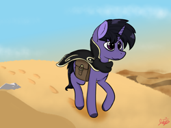 Size: 2834x2125 | Tagged: safe, artist:jubyskylines, oc, oc only, oc:tyrian shade, saddle arabian, unicorn, backstory, bag, desert, journey, magical, purple, saddle bag, sand, travelling