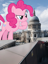 Size: 3024x4032 | Tagged: safe, artist:dipi11, artist:jerryakiraclassics19, pinkie pie, earth pony, pony, cathedral, female, giant pony, giantess, highrise ponies, hoof on chin, irl, london, macro, mare, photo, ponies in real life, raised eyebrow, raised hoof, st paul's cathedral, story included, united kingdom