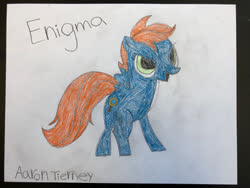 Size: 400x300 | Tagged: safe, artist:bigtimelatiaslover35, oc, oc only, oc:enigma, pegasus, pony, drawing, photo, solo, traditional art