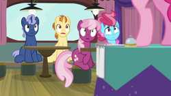 Size: 1920x1080 | Tagged: safe, screencap, cheerilee, cup cake, golden crust, midnight snack (character), pinkie pie, a trivial pursuit, spoiler:s09e16, bell, friendship student