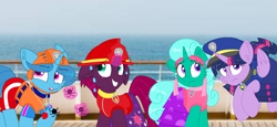 Size: 2340x1080 | Tagged: safe, artist:rainbow eevee, artist:徐詩珮, fizzlepop berrytwist, glitter drops, spring rain, tempest shadow, twilight sparkle, alicorn, unicorn, series:sprglitemplight diary, series:sprglitemplight life jacket days, series:springshadowdrops diary, series:springshadowdrops life jacket days, alternate universe, bisexual, broken horn, clothes, cute, equestria girls outfit, female, glitterbetes, glitterlight, glittershadow, happy, horn, lesbian, lifeguard, lifeguard spring rain, paw patrol, polyamory, prank, shipping, sprglitemplight, spring rain is not amused, springbetes, springdrops, springlight, springshadow, springshadowdrops, swimsuit, tempestbetes, tempestlight, twilight sparkle (alicorn), unamused