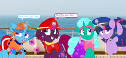 Size: 2340x1080 | Tagged: safe, artist:rainbow eevee, artist:徐詩珮, fizzlepop berrytwist, glitter drops, spring rain, tempest shadow, twilight sparkle, alicorn, unicorn, series:sprglitemplight diary, series:sprglitemplight life jacket days, series:springshadowdrops diary, series:springshadowdrops life jacket days, alternate universe, bisexual, broken horn, clothes, cute, dialogue, equestria girls outfit, female, glitterbetes, glitterlight, glittershadow, happy, horn, lesbian, lifeguard, lifeguard spring rain, paw patrol, polyamory, prank, shipping, sprglitemplight, spring rain is not amused, springbetes, springdrops, springlight, springshadow, springshadowdrops, swimsuit, tempestbetes, tempestlight, twilight sparkle (alicorn), unamused