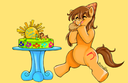 Size: 2299x1495 | Tagged: safe, artist:wndn3, oc, oc:maría teresa de los ponyos paguetti, birthday, cake, eating, empanada, food, hat, party hat, ya es hora