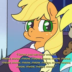 Size: 680x680   Tagged: safe, artist:talimingi, applejack, bon bon, derpy hooves, lyra heartstrings, sweetie drops, dialogue, meow mix, reference, the boy who knew too much, the simpsons