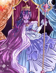 Size: 4000x5200 | Tagged: safe, artist:mrrowerscream, twilight sparkle, equestria girls, the last problem, spoiler:s09e26, clothes, coronation, crown, dress, equestria girls interpretation, gown, jewelry, queen, regalia, robe, scene interpretation, scepter, solo, throne