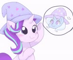 Size: 2048x1690 | Tagged: safe, artist:tstivv, starlight glimmer, trixie, pony, unicorn, bipedal, blushing, clothes, cute, duo, female, glimmerbetes, hat, pointing, simple background, smiling, thought bubble, trixie's hat, white background