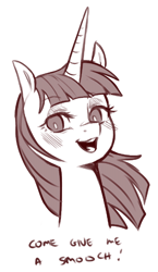 Size: 456x786 | Tagged: safe, artist:cold-blooded-twilight, oc, oc only, oc:fausticorn, alicorn, pony, blushing, bronybait, bust, kiss me, looking at you, monochrome, portrait, simple background, talking to viewer