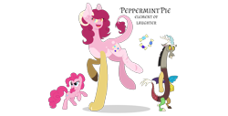 Size: 1370x695 | Tagged: safe, artist:magicuniclaws, discord, pinkie pie, oc, oc:peppermint pie, draconequus, earth pony, hybrid, pony, discopie, female, interspecies offspring, male, offspring, parent:discord, parent:pinkie pie, parents:discopie, shipping, simple background, straight, transparent background