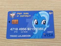 Size: 1920x1440   Tagged: safe, artist:ramivic, trixie, card, credit card, debit card, deviantart watermark, obtrusive watermark, photo, visa, watermark