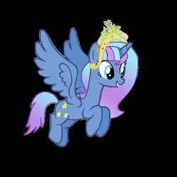Size: 538x538   Tagged: safe, artist:crystal twilight, artist:starlight brilliant, oc, oc only, oc:starlight resplendent, alicorn, pony, alicorn oc, crown, female, flying, jewelry, regalia, simple background, solo, tail, transparent background, wings