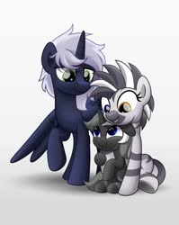 Size: 800x1004 | Tagged: safe, artist:jhayarr23, oc, oc only, oc:iridis flash, oc:jadi, oc:quantum flash, alicorn, pony, zebra, family, female, heterochromia, male, mare, married couple, parent:jadi, parent:quantum flash, stallion