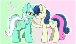 Size: 1280x742 | Tagged: safe, artist:envygirl95, bon bon, lyra heartstrings, sweetie drops, pony, blushing, female, lesbian, lyrabon, shipping