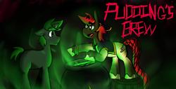 Size: 2845x1448 | Tagged: safe, artist:peachy-pudding, oc, oc:doctor atom, oc:pudding pop, hybrid, mule, pony, brew, duo, fog, magic, male, potion, stallion