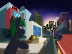 Size: 1036x771 | Tagged: safe, artist:chub-wub, oc, oc:doctor atom, city, horizon, lights, male, night, scenery, solo, stallion, stars