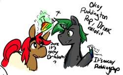 Size: 1387x842 | Tagged: safe, artist:peachy-pudding, oc, oc:doctor atom, oc:pudding pop, hybrid, mule, unicorn, cute, dialogue, duo, male, stallion, text
