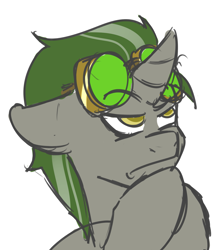 Size: 2059x2401 | Tagged: safe, artist:vivofortissimo, oc, oc:doctor atom, unicorn, goggles, hoof on chin, male, offscreen character, solo, stallion, thinking