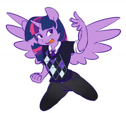 Size: 1280x1146 | Tagged: safe, artist:chub-wub, twilight sparkle, anthro, clothes, female, necktie, part of a set, simple background, solo, sweater, white background