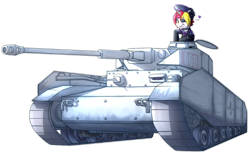 Size: 1600x1000 | Tagged: safe, artist:frankier77, oc, oc only, oc:lazy saturday, unicorn, choker, clothes, collar, female, heart, latex, latex boots, one eye closed, panzer iv, simple background, solo, tank (vehicle), transparent background, uniform, wink
