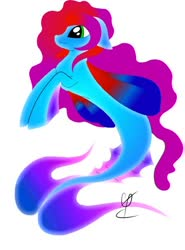 Size: 450x608 | Tagged: safe, artist:sandeline, oc, seapony (g4), female, full color, happy, ocean, simple background, water