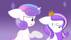 Size: 2109x1187 | Tagged: safe, artist:sugarcloud12, princess flurry heart, oc, pegasus, pony, crown, female, filly, jewelry, older, regalia, teary eyes
