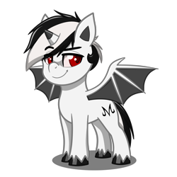 Size: 4093x4093 | Tagged: safe, artist:jcosneverexisted, oc, oc only, oc:hallo, bat pony, hybrid, pony, unicorn, my little pony: pony life, looking at you, male, pose, simple background, solo, transparent background, unshorn fetlocks